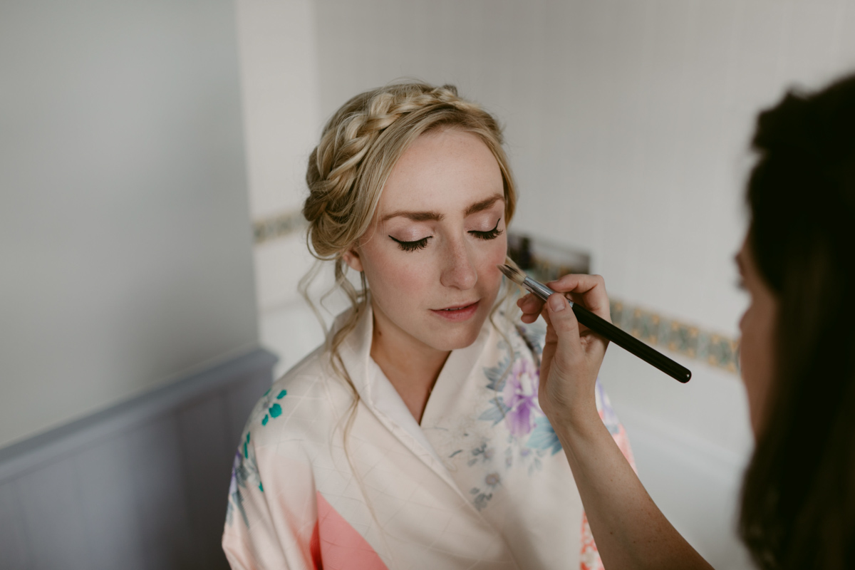 bride and makeup artist at hadlow. kent on wedding day