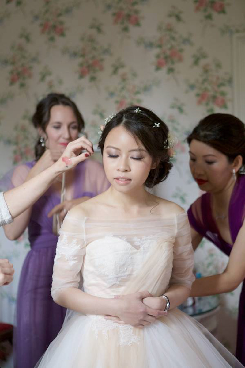 bride and bridesmaids hair and makeup at wadhurst castle in kent