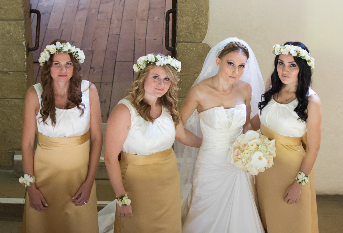 eastern european bride and bridesmaids at leeds castle, maidstone, kent