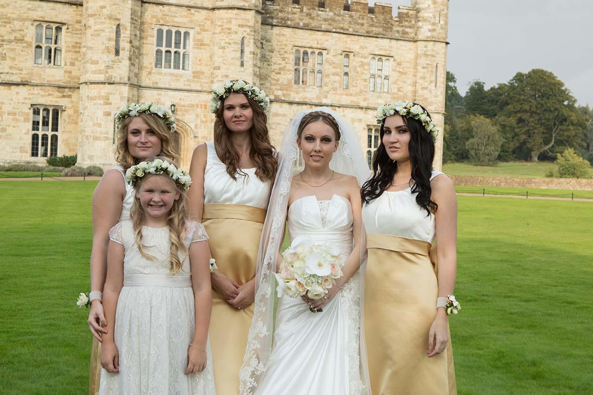 Bride and Bridesmaids Leeds Castle, maidstone, kent