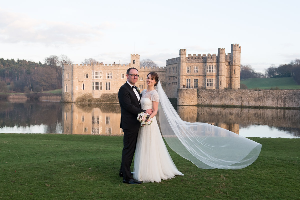 Bride and Groom outside Leeds Castle, maidstone, kent