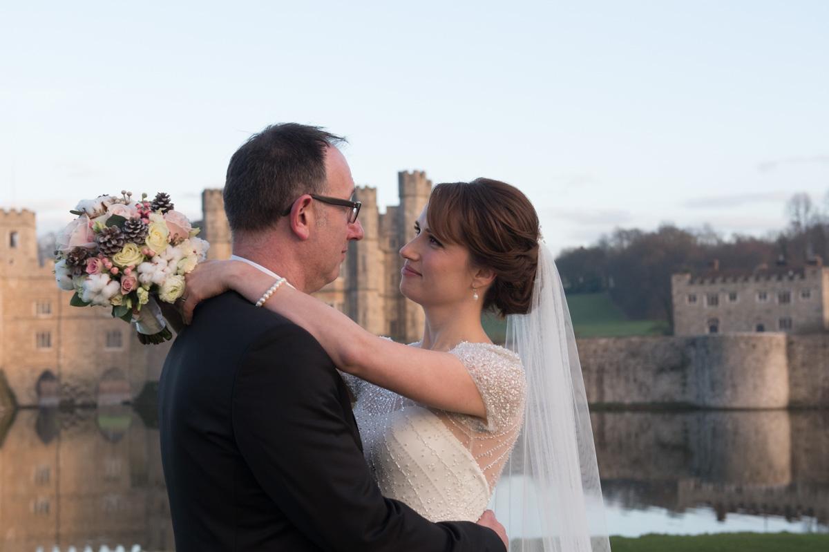 Leeds Castle bride and groom in maidstone, kent