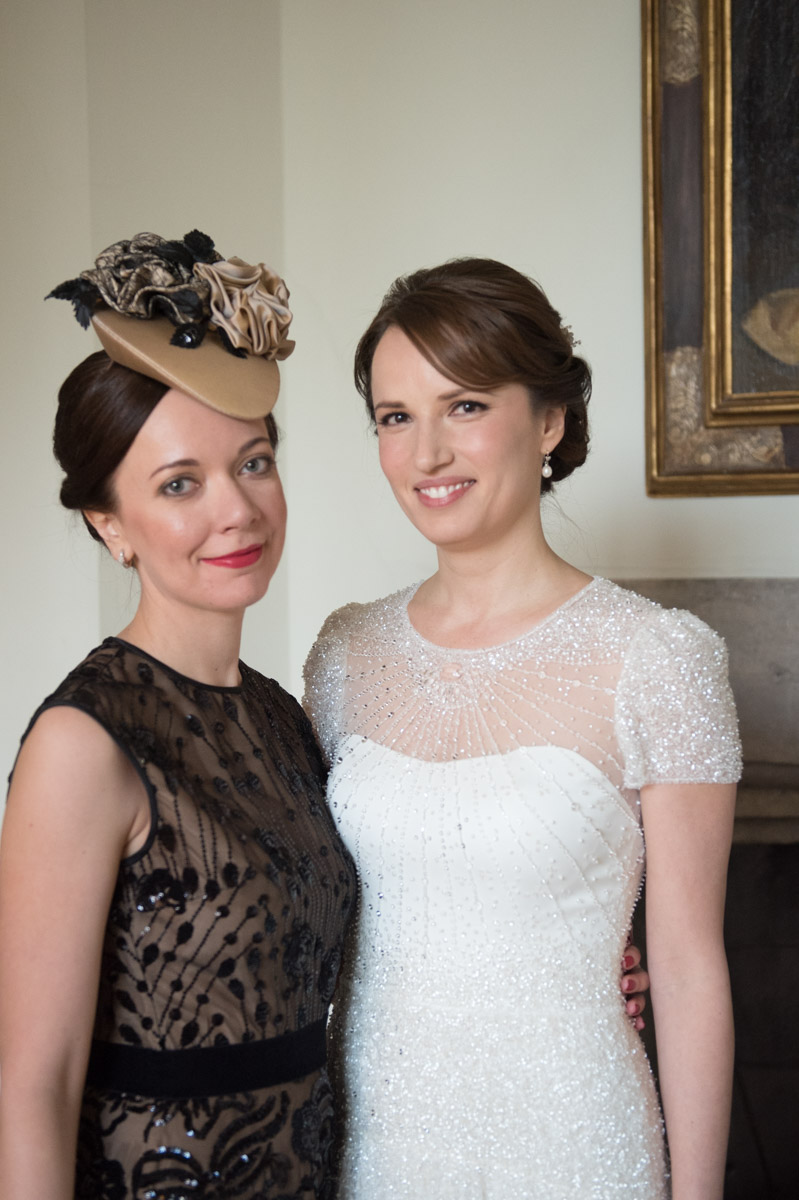 Bride with friend at leeds Castle, maidstone, kent