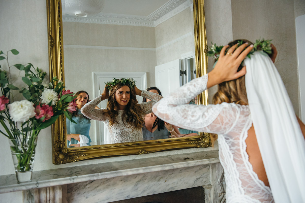 flower crown and veil on bride on her wedding day in east london