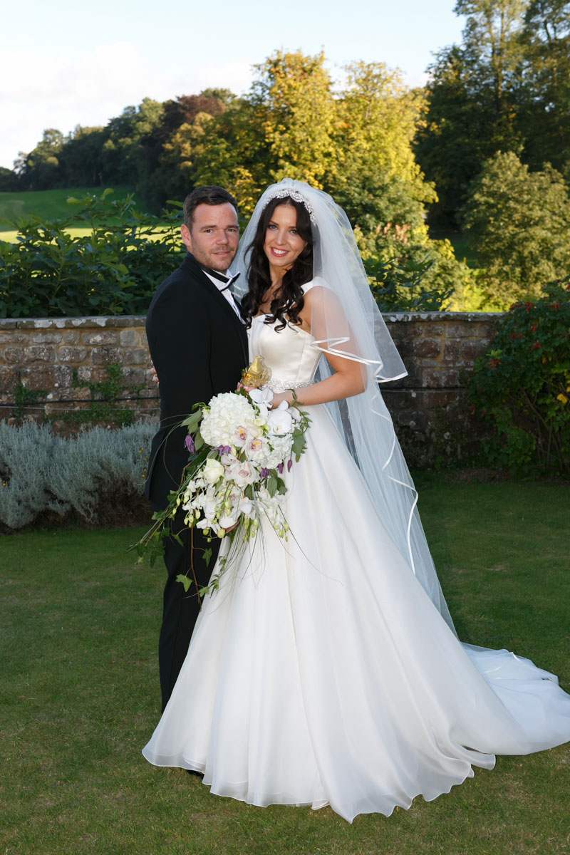 bride and groom on wedding day at leeds castle