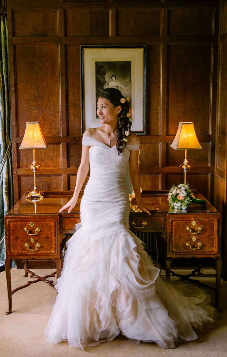 chinese bride on wedding day at hever castle, kent hair and makeup by SJB hair and makeup