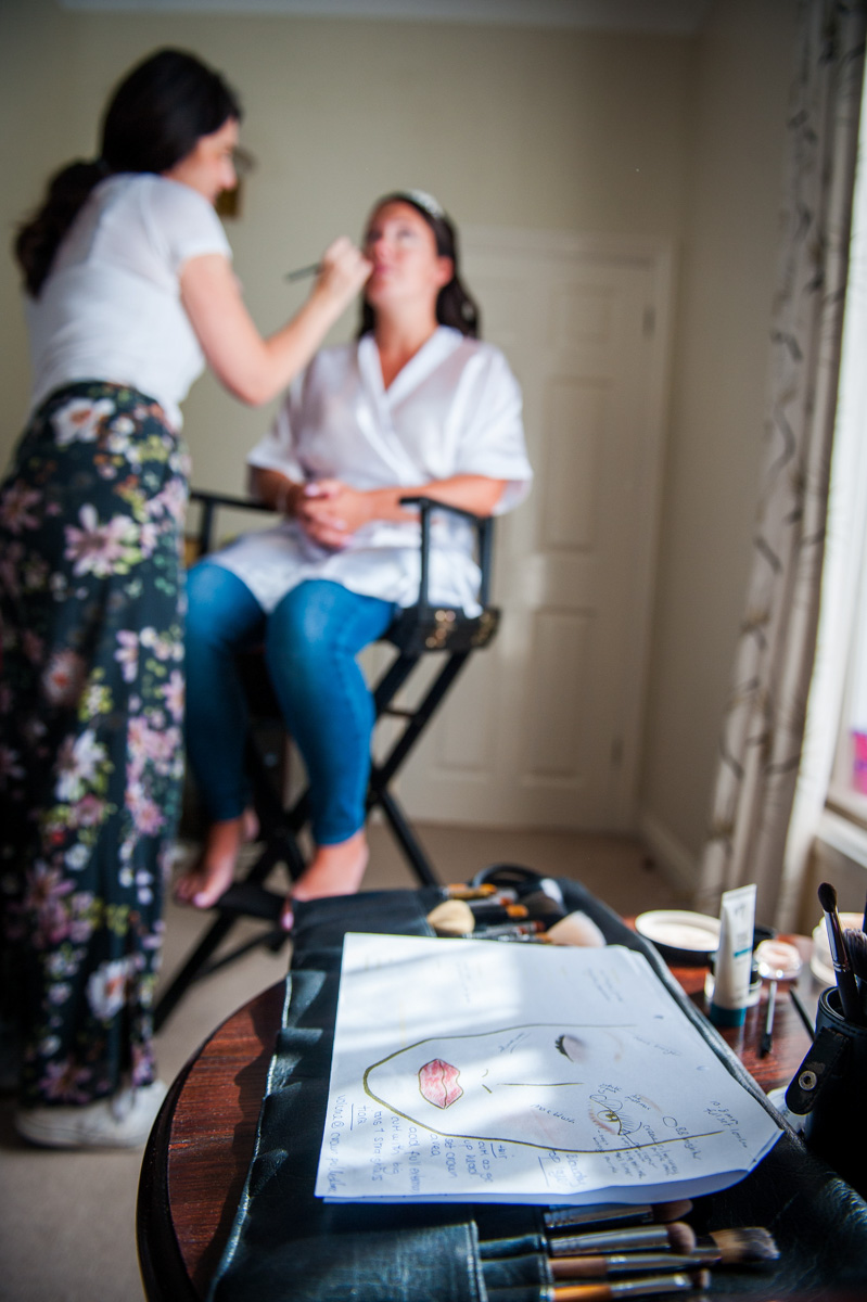 Bridal makeup artist at Hadlow Manor in Kent