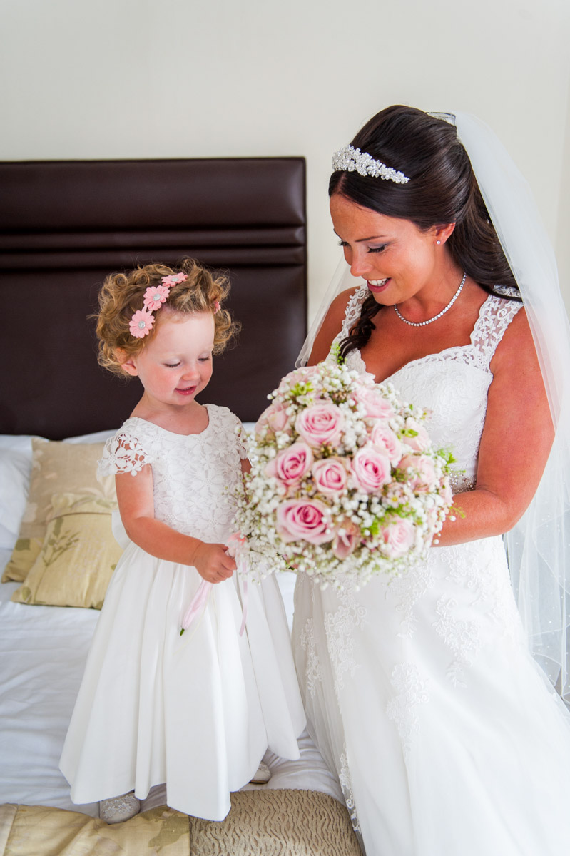 Bride and flowergirl at Hadlow Manor, hair and makeup artist, kent