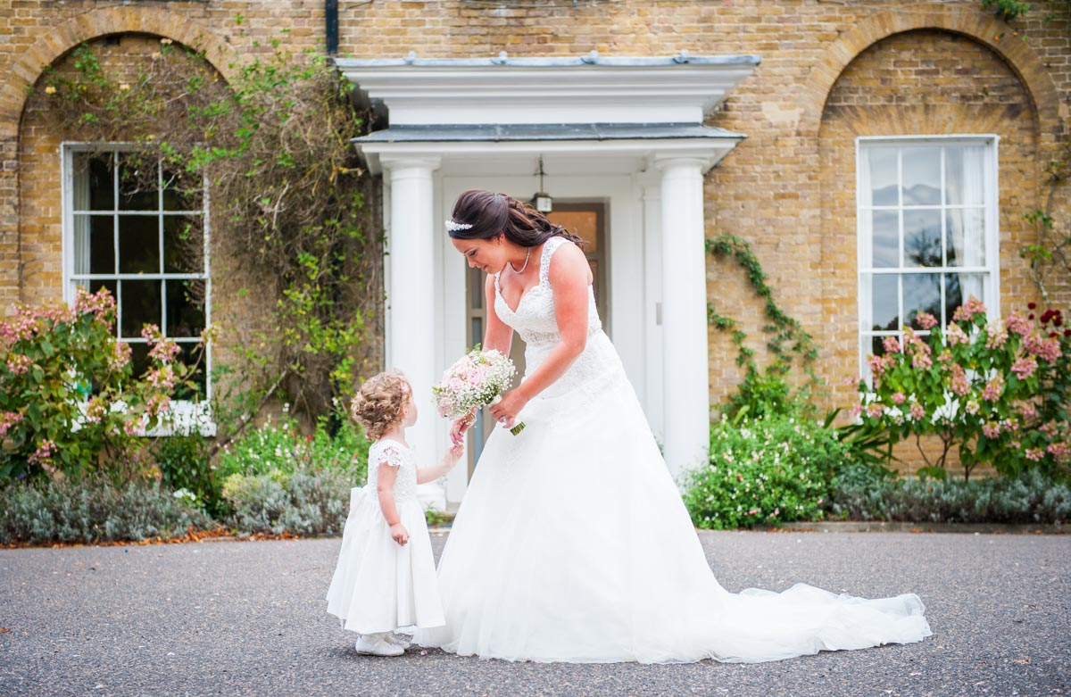 Bride and Flower girl at Hadlow Manor, hair and makeup artist, Kent