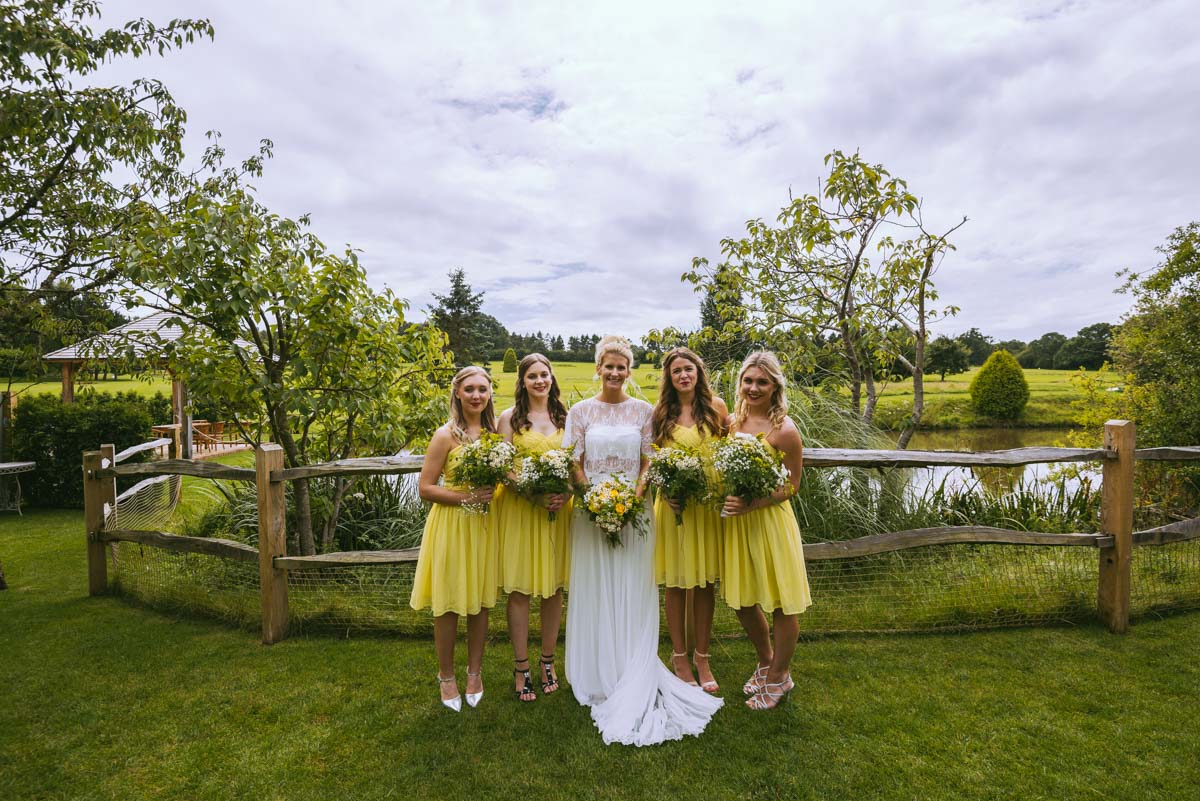 Bride and Bridesmaids hair and makeup at Brookfield barn, sussex