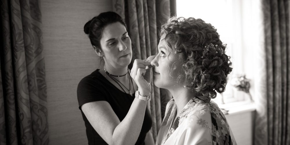 Bride with hairstylist and makeup artist, tunbridge wells, kent