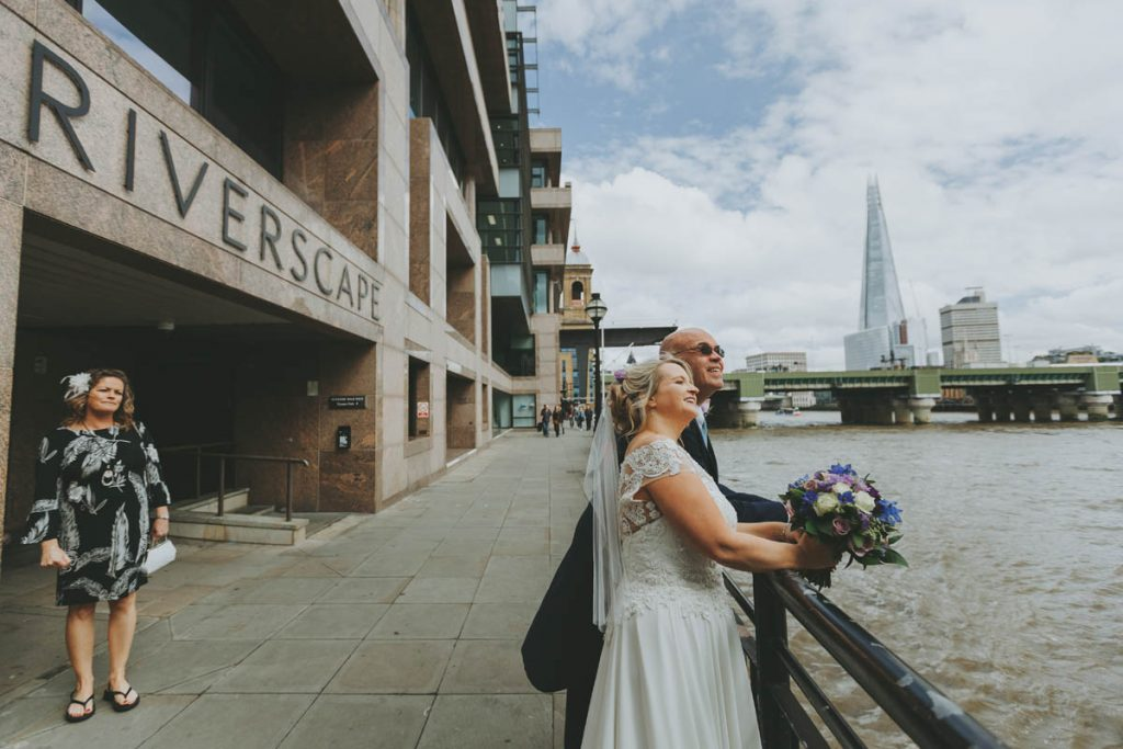 Special London Wedding Makeup - bride and Groom at the river