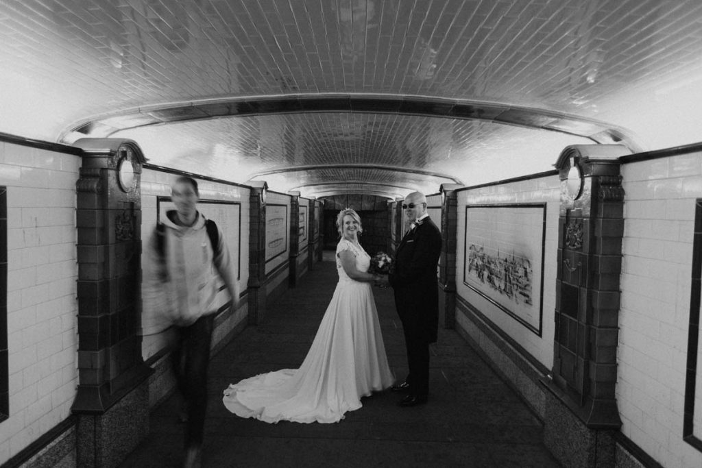 Bride and Groom in the tube